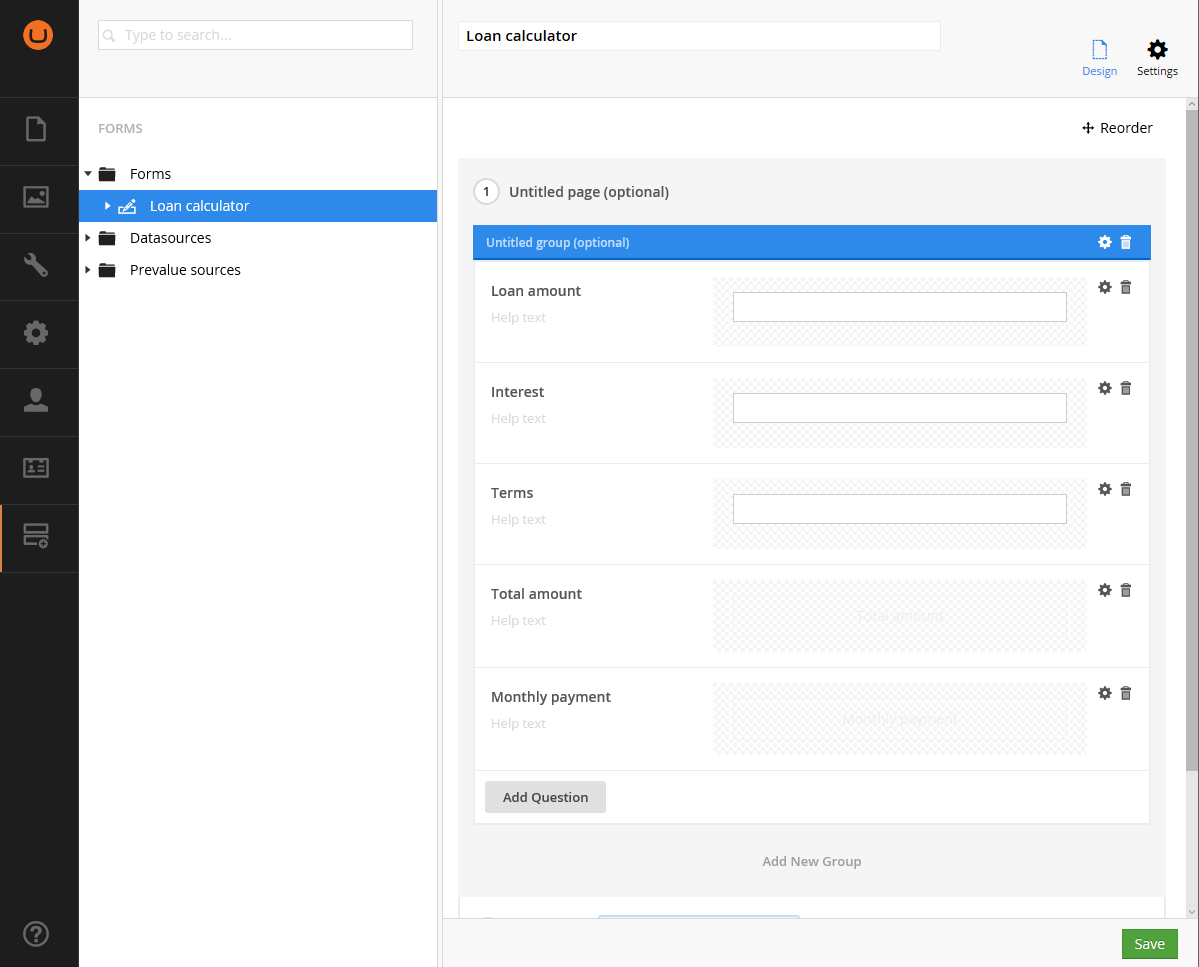 Form administration UI with fields