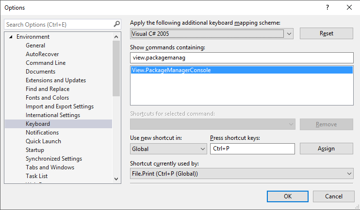 Visual Studio keyboard options, setting shortcut for package manager console
