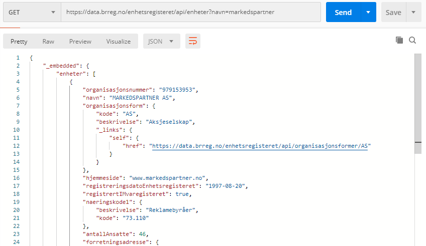 Searching for MarkedsPartner with Brreg APIs