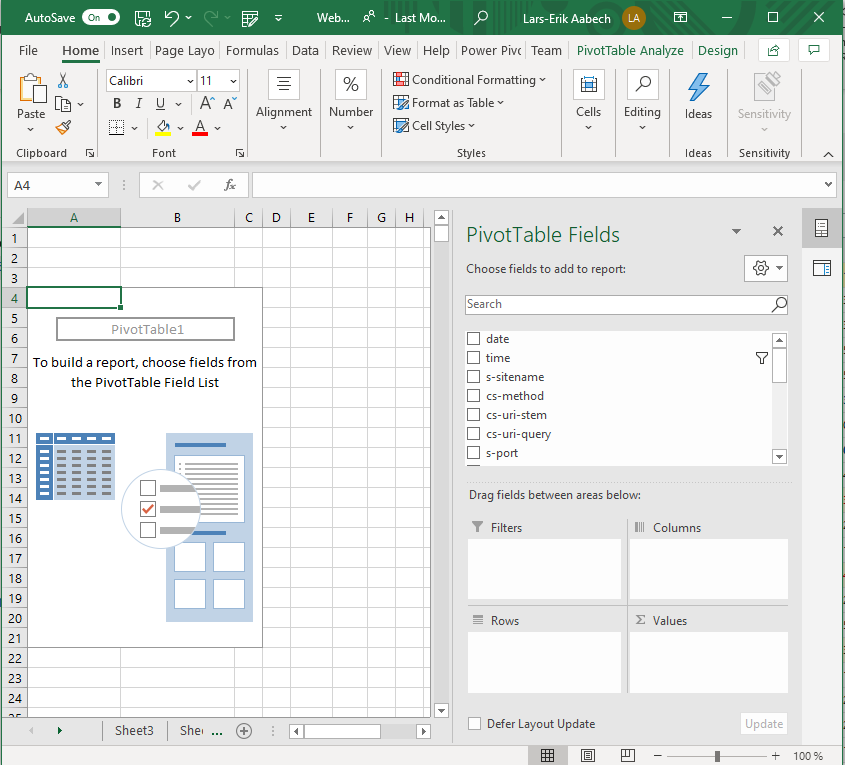 A fresh pivot table in Excel