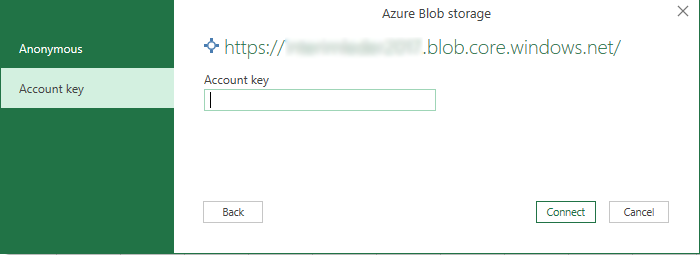 Entering storage account key