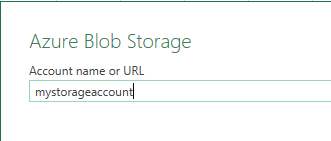 Entering storage account name