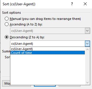 Excel Pivot sort dialog