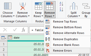 Removing hash row errors