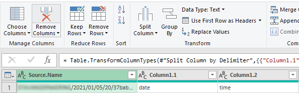 Removing the source column